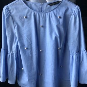 Zara Light Blue Flare Sleeve Imitation Pearl Top